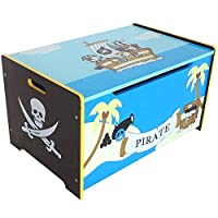 Bebe Style Toddler Sized Premium Wooden Pirate Toy Box and Bench Pirate Theme Easy Assembly Blue