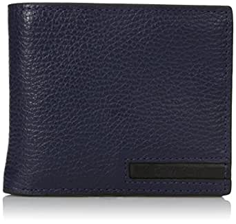 Calvin Klein Men's Pebble Leather Billfold with Money Clip and Key Fob, Navy, One Size