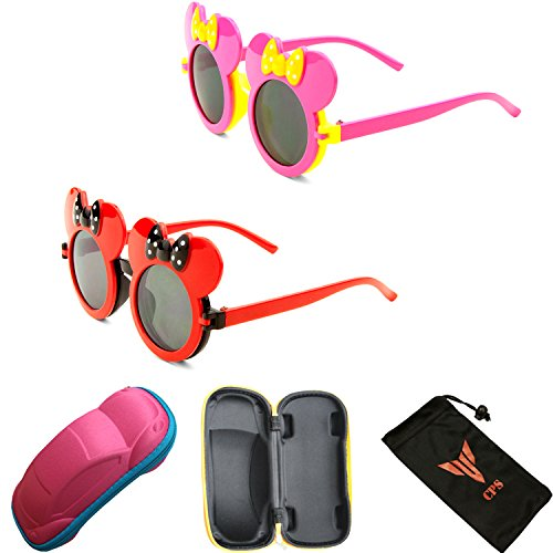 Price comparison product image 2 Pairs- Kid Cute Colored Mouse Ears Flip Up Sunglasses Clear Lens Mickey Minnie Bow