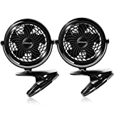 OPOLAR Clip on Fan, USB or Battery Operated [4 AA Batteries Required(not Included)], Desk Fan with One Setting,360 Degree Rotation for Baby Stroller, Office, Dorm, Home and Outdoor Activity-Two Pack