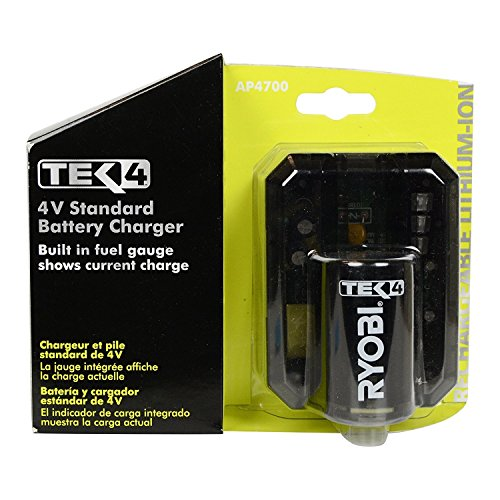 Ryobi Genuine OEM AP4700 Tek4 4 Volt Compact Lithium Ion Battery Charger with Onboard LED Fuel Gauge and Battery Test Function by Ryobi