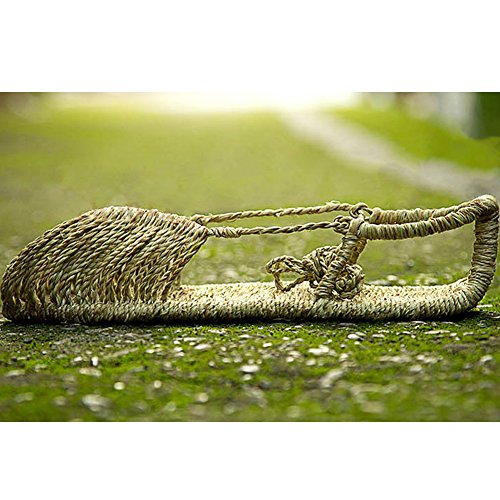 Fereshte Unisexe Couple Fait À La Main Lin Tissé Lin Respirant Fermé-toe Sandales Plates Pour Les Femmes Hommes Jaune