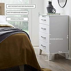 Bedroom Edenbrook DaleyFour Drawer Modern Design-Easy Assembly Dresser, White modern dressers