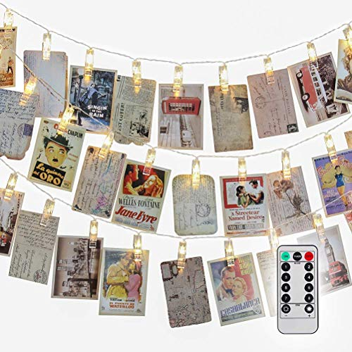 Jamal 50 LED Photo Clips String Lights Battery Powered with Remote 8 Modes Timer Halloween Outdoor Starry Light for Hanging Cards and Memos Ideal Gift Cool Decorations(Warm White) ()