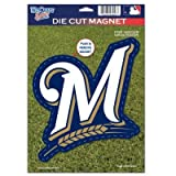 MLB Milwaukee Brewers 82797010 Die Cut Logo Magnet, Small, Black