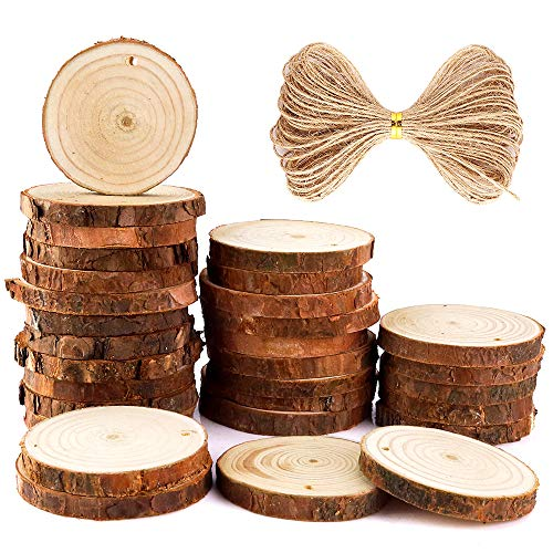 Caydo 30 Pieces 2.4-2.8 Inch Unfinished Predrilled Wood Slices Round Log Discsand 33 Feet Natural Jute Twine for Christmas Ornaments and Home Hanging Decorations