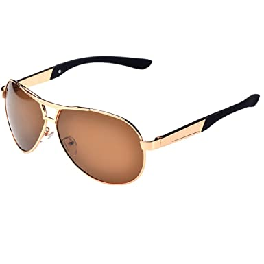 Leben pour homme Verres polarisés pour lunettes de soleil avec cadre en métal de conduite escalade d'équitation - - Gris q6peW9J5ta,