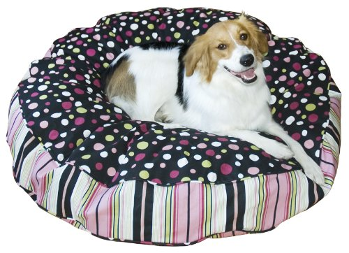 Happy Hounds Scout Deluxe Round Dog Bed, Large 42-Inch, Black/Pink, My Pet Supplies