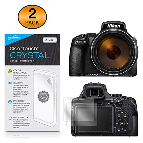 Nikon Coolpix P1000 Screen Protector, BoxWave [ClearTouch Crystal (2-Pack)] HD Film Skin - Shields from Scratches for Nikon Coolpix P1000