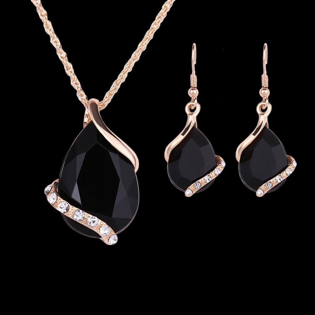 Exing Collier Pendentif Boucles doreilles Imitation Cristal Ensemble de Bijoux Design g/éom/étrique pour Femmes Boucles doreilles de f/ête Noir