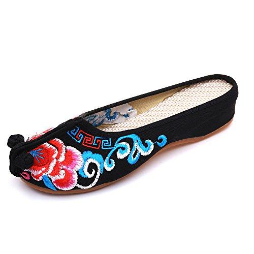 oras Sandalias Zapatillas amp;G NGRDX Open Zapatillas Hogar Oxford Zapatillas Retro Se Se YTB Zapatos Planas Zapatillas oras Zapatos Vetado Diapositivas Bordados 6gafUng