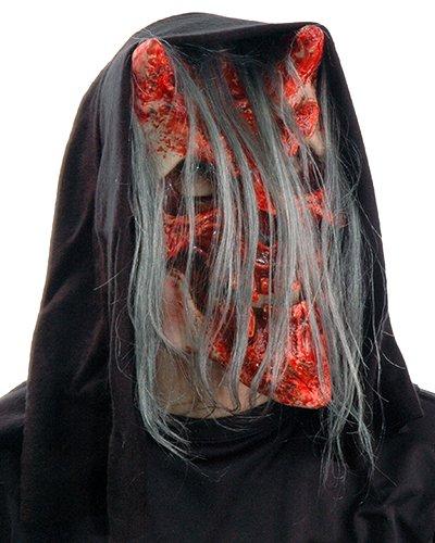 Zagone Whispers Mask, Horned bloody Skull with Hair ()