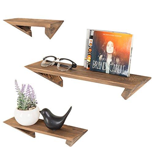 Cheap MyGift Wall-Mounted Rustic Burnt Wood Floating Ledge Shelves, Set of 3