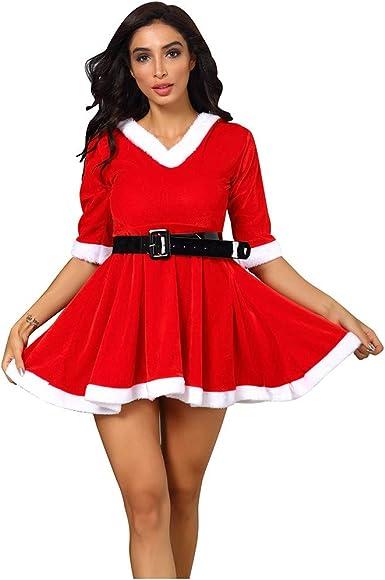 Navidad Vestidos Mujer Rojo Sexy Disfraz Festival Hombro sin ...