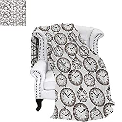 warmfamily Clock Digital Printing Blanket Vintage Pocket Watch with Numbers on It Antique Design Chronometers Old Fashioned Print Lightweight Blanket 70x50 Brown