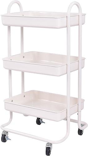 Giantex 3-Tier Rolling Kitchen Trolley Cart Portable Shelves Handle Storage Kitchen Steel Serving Island Utility