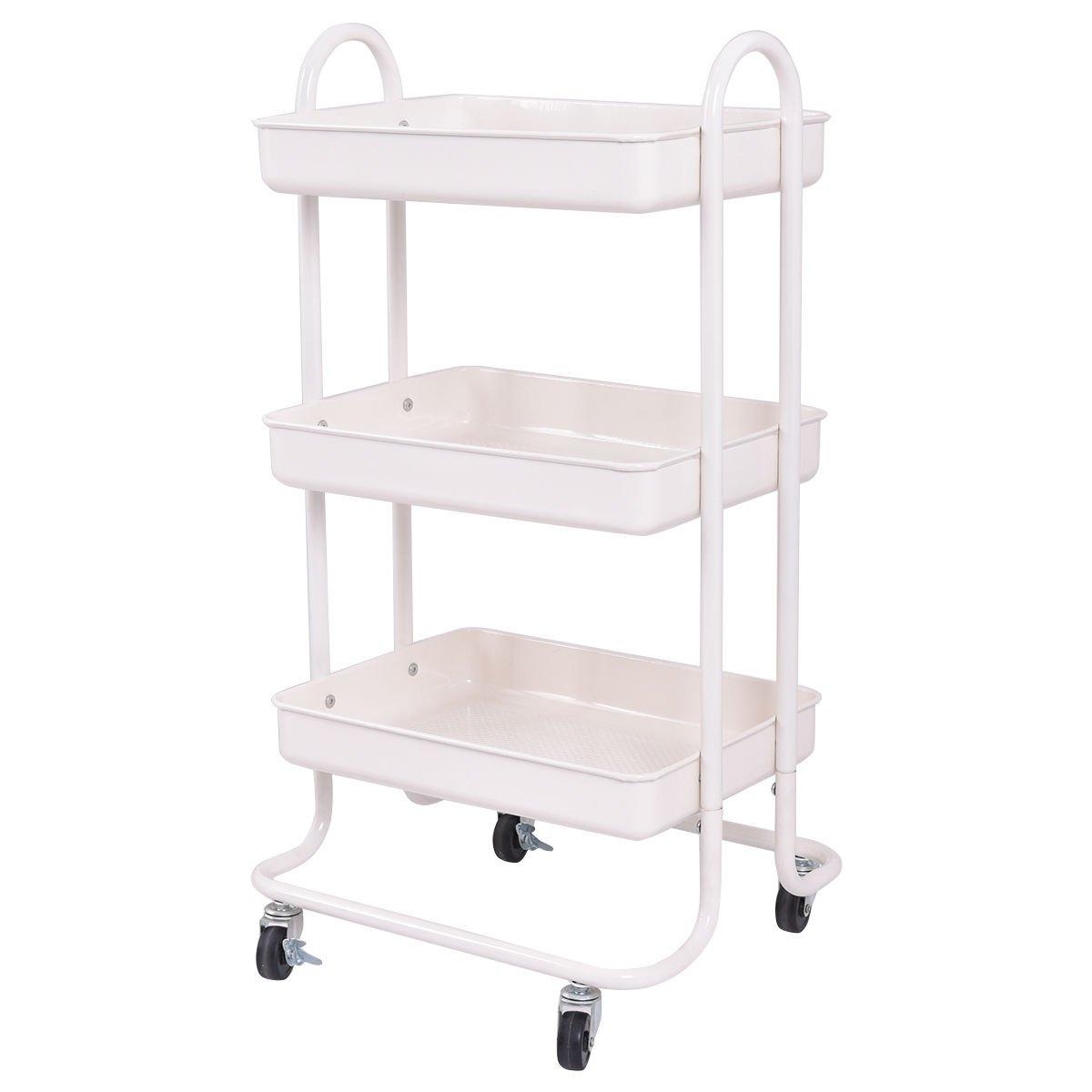 Giantex 3-Tier Rolling Kitchen Trolley Cart Portable Shelves Handle ...