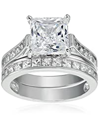 Sterling Silver Platinum-Plated Swarovski Zirconia Ring