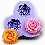 Great Chance 3 Cavities Flower Cake DIY Decorating Fondant Silicone Sugar Craft Mold