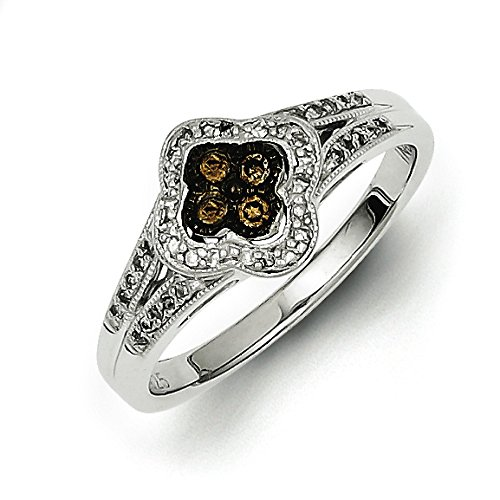 925 Sterling Silver Rhodium-plated Champagne Diamond Small Flower Ring Size 8 (Champagne Diamond Flower Ring)