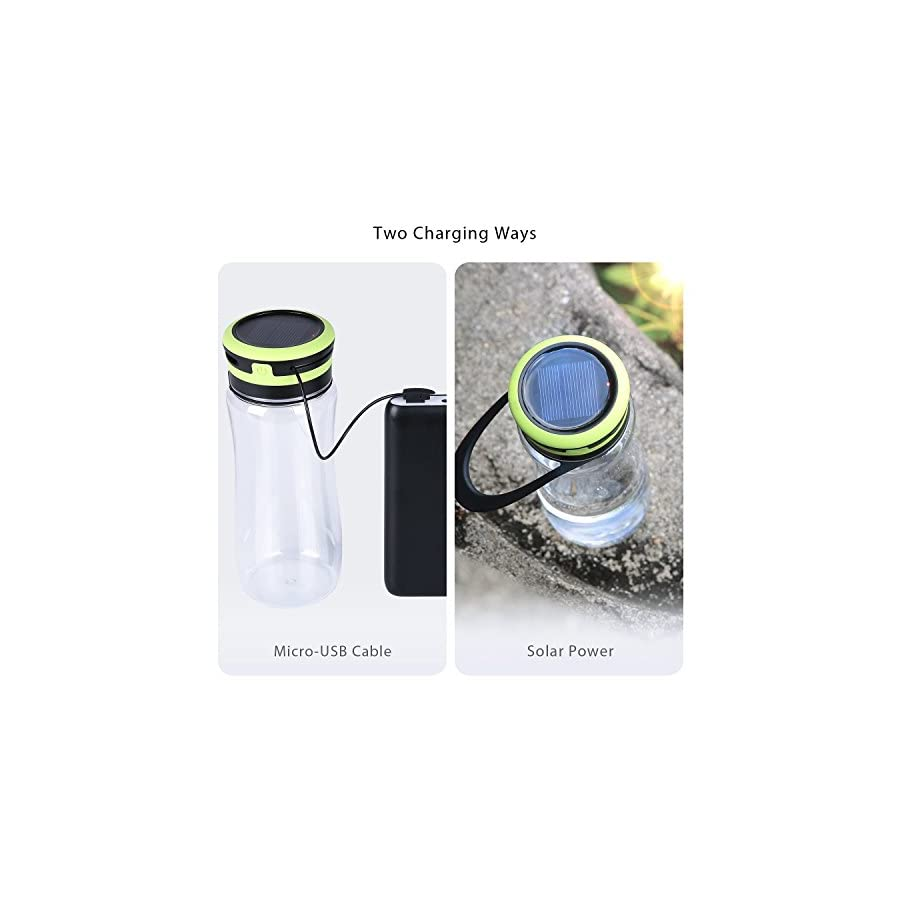 Water Bottle Aglaia Camping light Bottle with Built in LED,3 Light Levels with USB & Solar Rechargeable, Outdoor Light with IPX6, Bottle Shade for Drinking, Storage