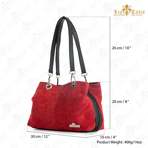 spalla Shop nero donna Handbag Borse Turchese a Big Trim qxwI51w7