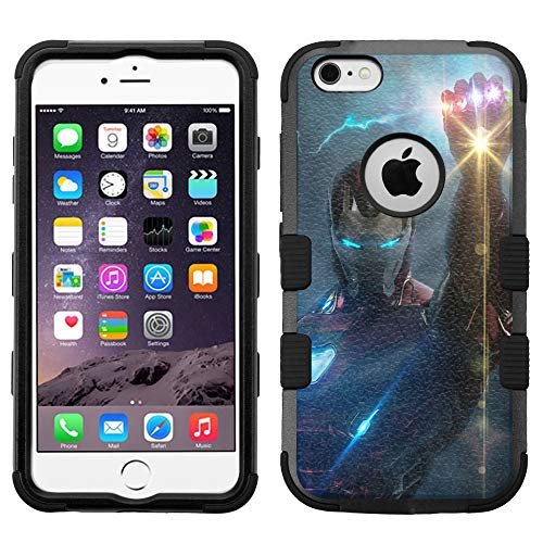 for iPhone 6s Plus Case, iPhone 6 Plus Case, Hard+Rubber Dual Layer Hybrid Heavy-Duty Rugged Impact Cover Case - Iron Man Endgame #H (I Phone 6 Case Iron Man)
