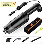 Innovational Lightweight Car Vacuum Cleanner 33000r/min Hurricane's Superisingly Strong Suction Handheld Portable Corded Wet-Dry -6pc Free attachments + HEPA Washable Filter (Black)