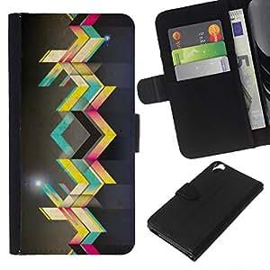 YiPhone /// Tirón de la caja Cartera de cuero con ranuras para tarjetas - Arte callejero - HTC Desire 820