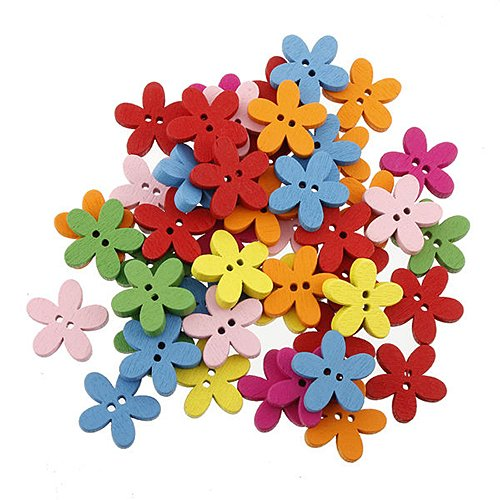 Colorful Flower Flatback Wooden Buttons Sewing Craft Scrapbooking 100pcs