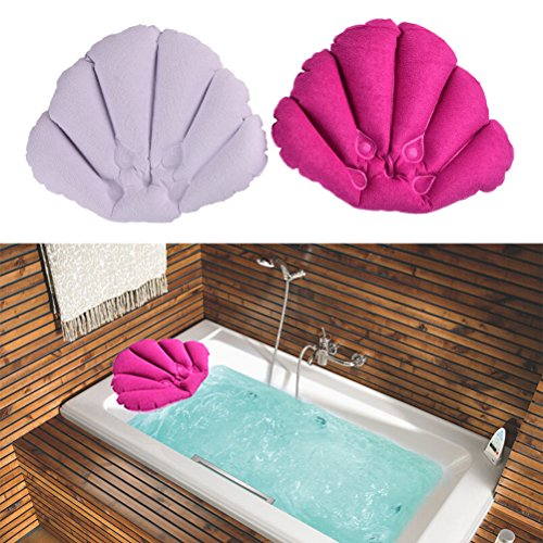 CosCosX Pack of 2 Inflatable Terry Cloth Bath Pillow with Suction Cups,Neck Support,Bathroom Spa Cushion,Head Back Pillow Mat Bathtub Relaxing,Assorted Colors by CoscosX (Image #2)