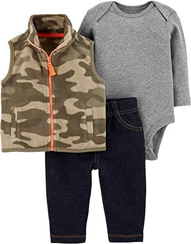 Carter's Baby Boys' Vest Sets (Newborn, Camouflage/Orange)