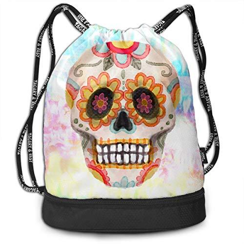 Zhangyi Sugar Skull Flowers Mexico Mexican Tradition Drawstring Backpack Sports Gym Cinch Sack Bag for Women Men Children Sackpack Dance Bag ()