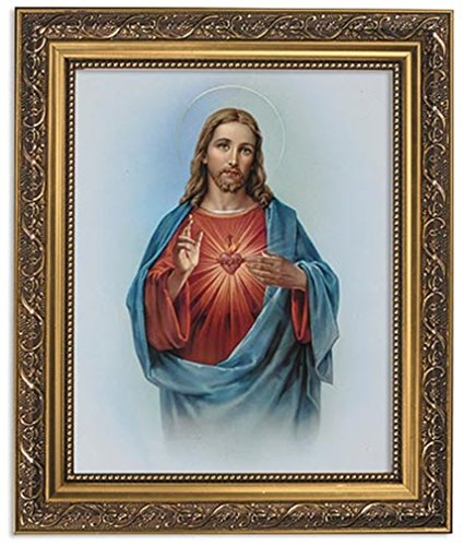 Gerffert Collection Sacred Heart of Jesus Christ Framed Portrait Print, 13 Inch (Ornate Gold Tone Finish Frame) (Picture Jesus)