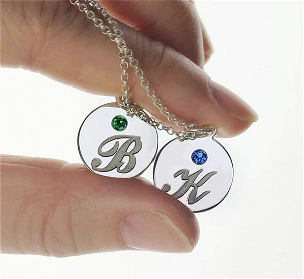 FACOCO Disc Pendant Necklace 925 Sterling Silver Necklace Engraved Letters and Birthstone Necklace Silver 14