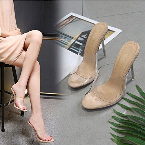 Scarpe Hhigh Sandali Trasparente Estive Partito Pantofole Moda Donna Beikoard Cachi Heel Crystal 8wcTSO7tq4