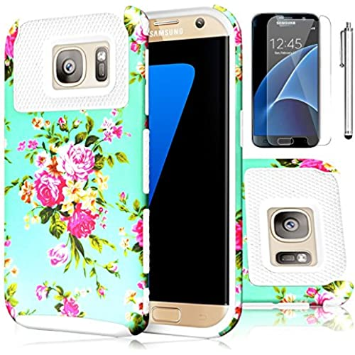 Galaxy S7 Case,EC 2-Piece Extra Slim Hybrid Dual Layer Hard Cover Case for Samsung Galaxy S7 2016 Release (Flower-White) Sales