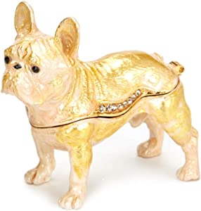 PAIQ Bulldog Trinket Box Collectible Figurine Home Decor Office Desktop Decoration Birthday Graduation Gifts