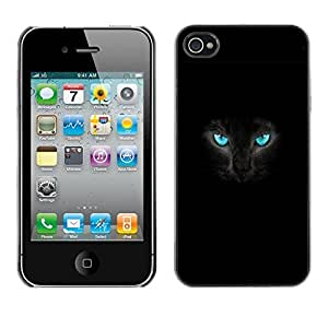 GagaDesign Phone Accessories: Hard Case Cover for Apple iPhone 4 4S - Fierce Black Cat Panther Blue Eyes