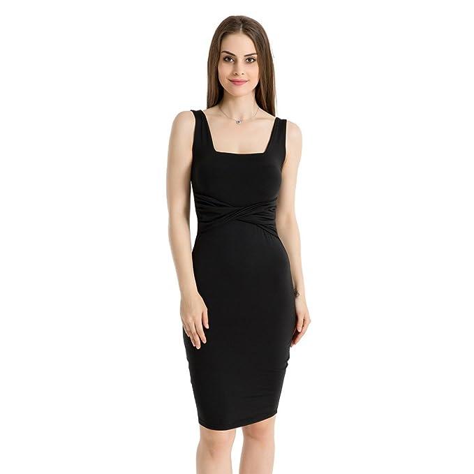 1004434e87ef Amazon.com: kemilove Women's Sleeveless Tank Dress Basic Scoop Neck Bodycon  Midi Dress: Clothing