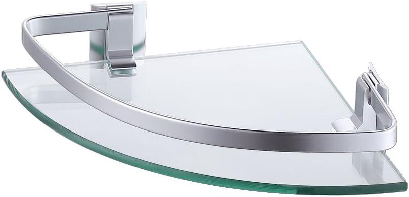 A4120A KES Aluminum Glasablage Bad Corner Caddy Korb Lagerung H/ängende Veranstalter mit Zus/ätzliche Dicke Temperiert Glas Zeitgen/össische Stil Wandhalterung Einzelne Stufe