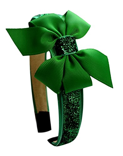 Girls Sparkle Headband with Grosgrain Bow Funny Girl Designs (Emerald Green)