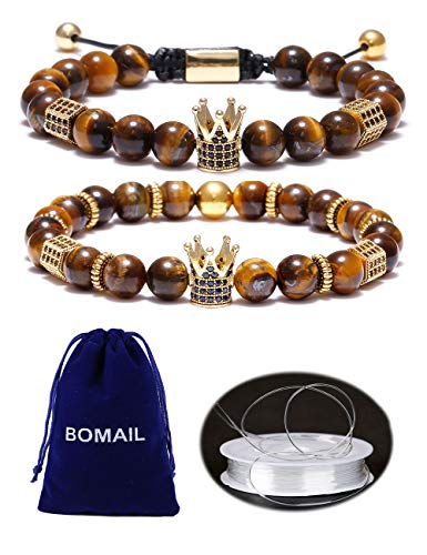 BOMAIL 8mm Imperial Crown Bead Bracelet King&Queen Luxury Charm Couple Jewelry Adjustable Bracelet
