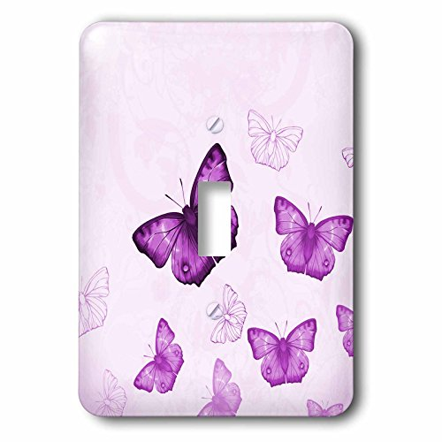 3dRose lsp_112029_1 Pretty Purple Flying Butterflies Pattern with Butterfly Silhouettes Light Switch ()