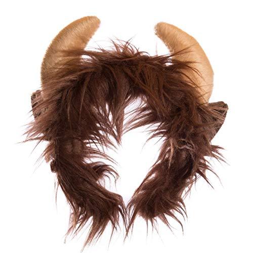 Wildlife Tree Plush Buffalo Ears Headband Accessory for Buffalo Costume, Cosplay, Pretend Animal Play or Safari Party -