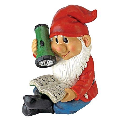 - Design Toscano Solar Garden Gnome Statue - Flashlight Freddie - Outdoor Garden Gnomes - Reading Lawn Gnome Statues