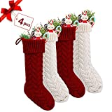 "18"" Large Size Vintage Handcrafted Knit Christmas Stocking Gift & Candy Pouch Bag,Set of 4 (Style 1)"