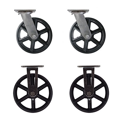 (Set of 4) 8'' CC Vintage Casters - Plate Mount - 2 Swivel and 2 Rigid