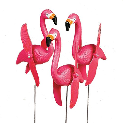 Fun Express OTC - Mini Pink Flamingoes Whirly-gig Twirling Wings Lawn Ornaments (1-Pack of 6)