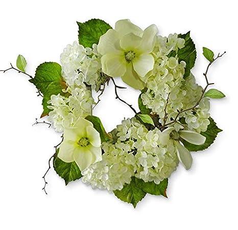 Amazon Com Hydrangea Magnolia Wreath For Front Door Decor 20